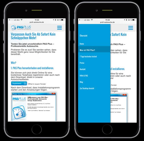 Pagina principală PAS Plus pe un smartphone