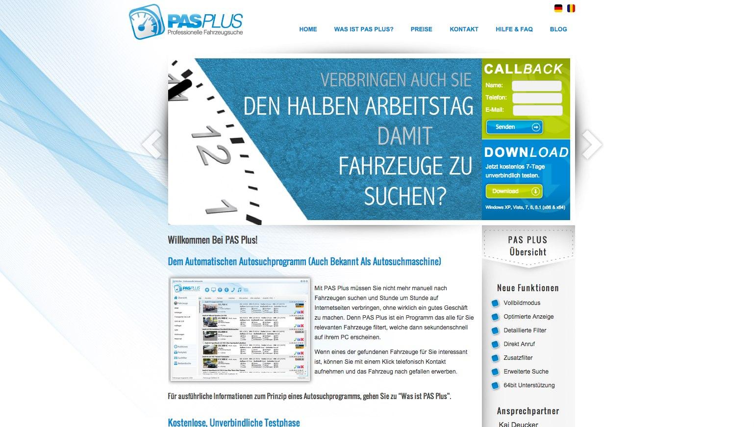 Pagina de pornire PAS Plus